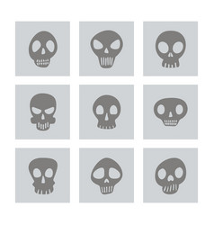 Set of monochrome icons with skulls vector