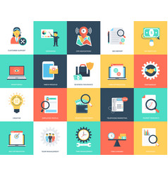 set of seo and marketing flat icons vector image