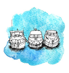 sketch of boats vector image vector image