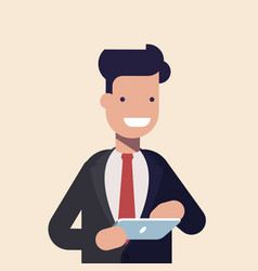 Smiling modern businessman using tablet character vector