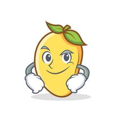 Smirking mango character cartoon mascot vector