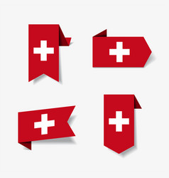 Swiss flag stickers and labels vector