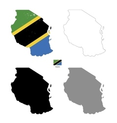 tanzania country black silhouette and with flag vector image