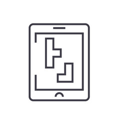 tetris line icon sign on vector image