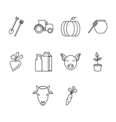 thin line agriculture icon set vector image