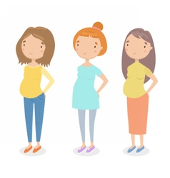 Three different pregnant girls vector image