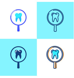 Tooth medical research icon set in flat and line vector
