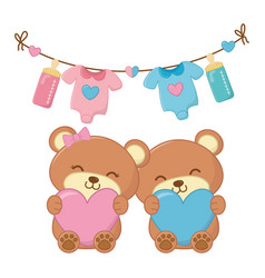Toy bears holding hearts vector