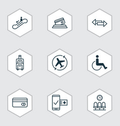 Traveling icons set with waiting room card vector