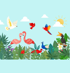 tropical birds in exotic nature with palm and vector image
