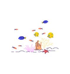 underwater wildlife semi flat rgb color vector image