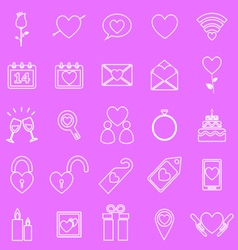 Valentines day line icons on pink background vector image