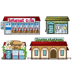 Various shops and a train station vector