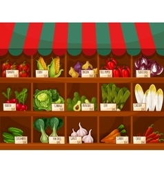 Vegetable and fruit market stall with price labels vector