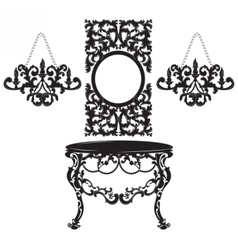 Vintage Baroque Dressing Table and Mirror set vector image