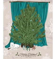 Vintage Christmas card with Christmas tree vector image