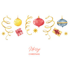 watercolor christmasbanner with balls vector image