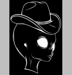 White silhouette alien head with hat on black vector
