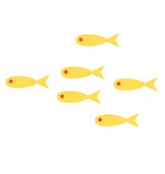 Yellow fish shoal flat on white vector