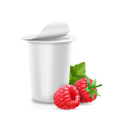 yogurt package with raspberry icon vector image