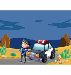 A smiling policeman beside the patrol car vector image vector image