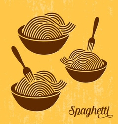 Spaghetti or noodle retro icons vector image vector image