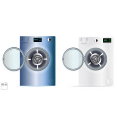 Washing machines with an open door detail on vector