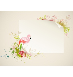 banner with pink flamingo and flowers vector image