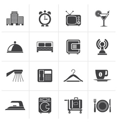 Black Hotel motel and travel icons vector image vector image