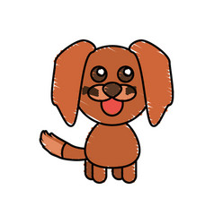 drawing dog animal character vector image vector image