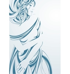 graphic monochrome girl in blue vector image