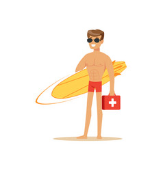 male lifeguard in red shorts with surfboard and vector image