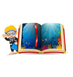 ocean scenery in the book and kid wearing a diving vector image
