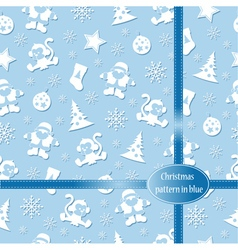 Pattern Merry Christmas in blue colors vector image vector image