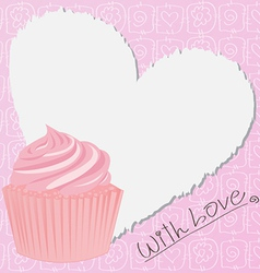 Pink Lovely Cupcake vector image