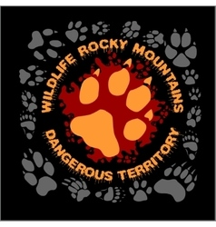 Wolf footprint emblem for t-shirt vector image