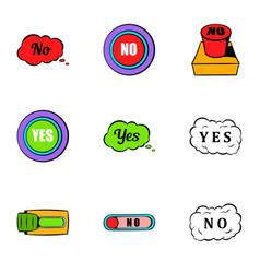 Button no icons set cartoon style vector