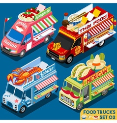 Food Truck Set02 Vehicle Isometric vector image vector image