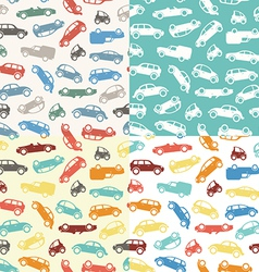 Four seamless car pattern vector image