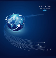 Globe network connection blue background vector image vector image