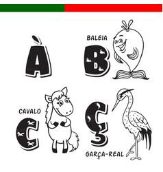 portuguese alphabet horse heron whale the vector image vector image