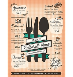 Restaurant Menu Design Template Layout vector image vector image
