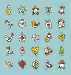 set of christmas iconsstarbellwreathsockhouse vector image