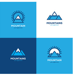 set of four geometric linear mountain logo vector image vector image