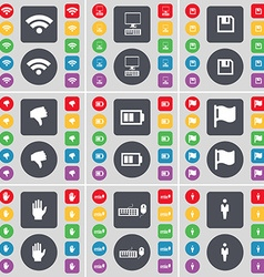 Wi-Fi PC Floppy Dislike Battery Flag Hand Keyboard vector image