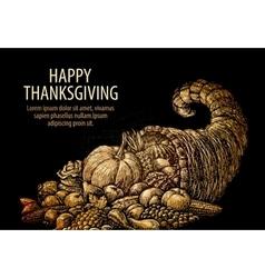 Happy Thanksgiving Horn of plenty Cornucopia vector image