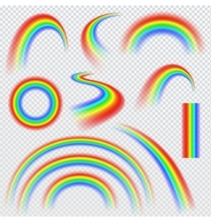 Realistic rainbows in different shape vector image vector image