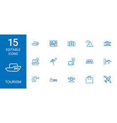 15 tourism icons vector image