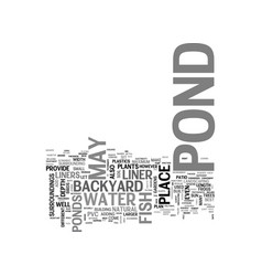 A backyard fish pond text word cloud concept vector