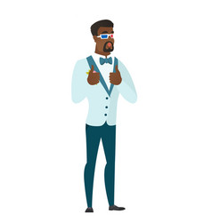 african groom watching movie in 3d glasses vector image